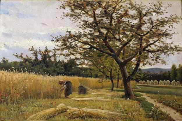 Oli de Joaquim Vayreda (1843 - 1894) que representa una  escena de sega de fa 100 anys